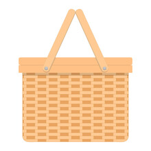 Woven Willow Picnic Basket. Handmade Wicker Basket With Two Handles Isolated On White Background. Vector Flat Cartoon Illustration.