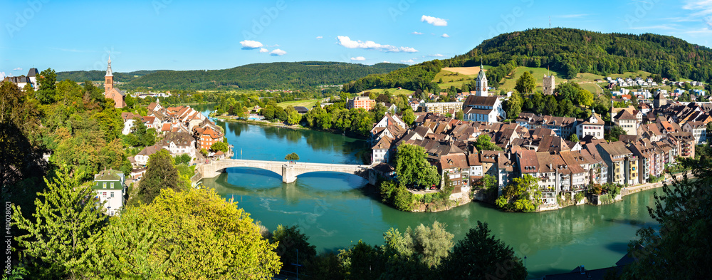 Fototapeta Laufenburg at the Rhine River in Switzerland and Germany