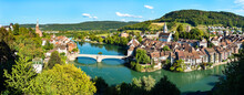 Laufenburg At The Rhine River In Switzerland And Germany