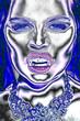 Neon woman of bright gradient holographic neon colors. Neon style concept. Concept art. Minimal surrealism portret.