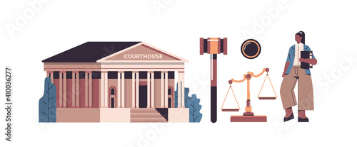 Photo law and justice set female lawyer and courthouse govel scales icons collection h