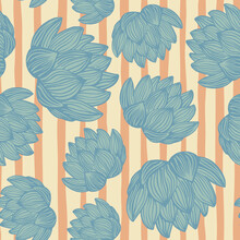 Random Seamless Pattern With Blue Colored Lotus Flower Shapes. Orange Striped Background. Decor Print.