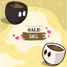 A Pair Of Coffee Cups In Valentine's Day Concept. With The Discount Coffee Design Illustrator Theme