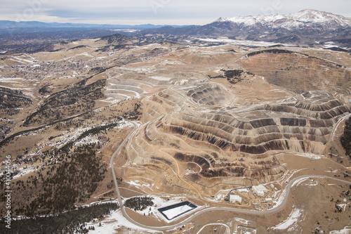 Aerial view of large open pit gold mine near Cripple Creek, Colorado, USA Fototapeta