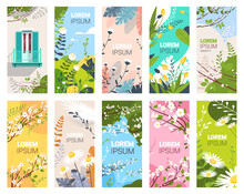 Set Beautiful Flowers And Leaves Floral Spring Posters Collection Vertical Greeting Cards Horizontal Vector Illustration