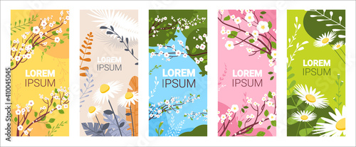 Obraz set beautiful flowers and leaves floral spring posters collection vertical greeting cards horizontal vector illustration - fototapety do salonu