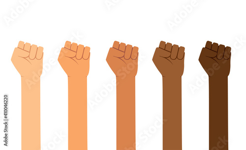 Fototapeta Different skin colors fist hands rise up. Empowering, Labor day, humans right, fight concept obraz