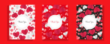 Set Of Valentine's Day Balloon With Confetti Vector Illustration. Valentine Cards Set. Red Black Pink White Love Hearth Vector Illustration For Website, Invitation,postcard And Sticker