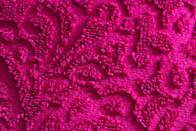 Texture Of Burgundy Terry Towel With A Pattern, Close-up. Background