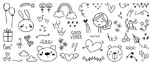 Cute Valentines Day Doodle Vector Set.  Hand Drawn Fashion Elements For Kids. Love And Animal , Labels, Gift Box , Heart, Arrow, Bear, Flowers Set, Rabbit, Women, Rainbow, Plant Vector Illustration.