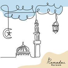 Continuous Line Drawing Of Mosque With Hanging Vintage Traditional Lantern, Moon And Star In The Sky. Ramadan Kareem Theme Isolated On White Background. Happy Eid Mubarak. Vector Illustration