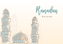 Ramadan Kareem One Continuous Line With Islamic Mosque, Mosque Dome And Mosque Tower Ornament. Eid Al Fitr Mubarak And Ramadan Kareem Greeting Card Concept Hand Drawn Design Minimalist Style