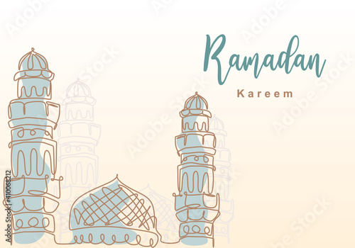 Canvas Print Ramadan Kareem one continuous line with islamic mosque, mosque dome and mosque tower ornament