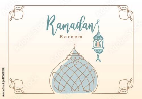 Carta da parati Ramadan Kareem one continuous line with lantern, mosque dome and mosque tower ornament