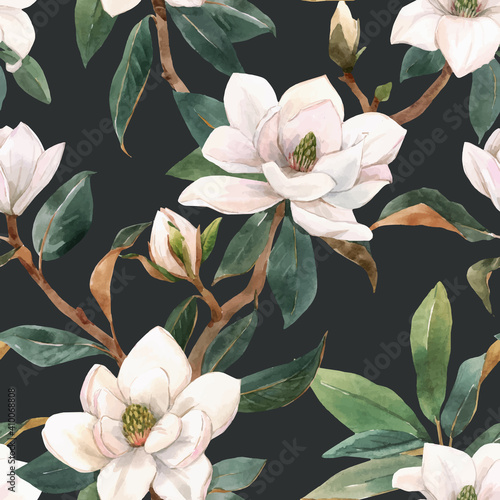 Fotografia Beautiful vector seamless pattern with hand drawn watercolor white magnolia flowers