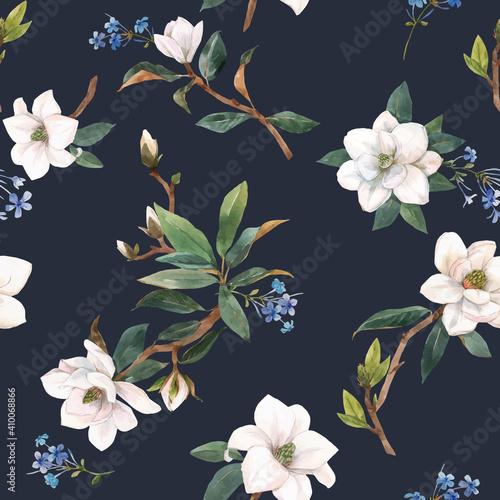 Carta da parati Beautiful vector seamless pattern with hand drawn watercolor white magnolia flowers