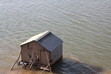 Floating House In Cambodia's River