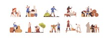 Set Of Medieval People Working As Blacksmith, Potter, Peasant, Annalist, Plague Doctor, Executioner. Scenes Of Daily Life In Middle Ages. Colored Flat Vector Illustration Isolated On White Background