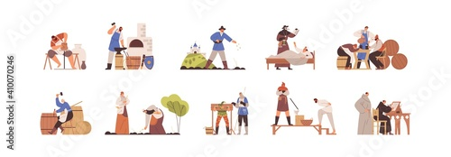 Set of medieval people working as blacksmith, potter, peasant, annalist, plague doctor, executioner Poster Mural XXL