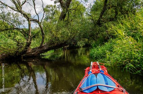 Szerokie poziome ujęcie rzeki Wierzyca, powalonego drzewa i kajaka podczas spływu - fototapety na wymiar