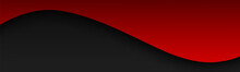 Abstract Black And Red Wave Banner. Vector Header With Blank Space For Your Text. Modern Corporate Design Vector Illustration