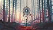 Leinwandbild Motiv woman standing and looking at the dreamcatcher hanging from the trees in the mysterious forest, digital art style, illustration painting