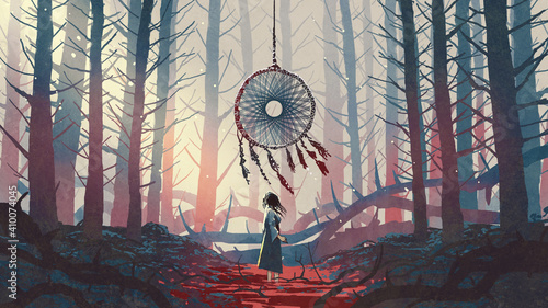 Fototapeta woman standing and looking at the dreamcatcher hanging from the trees in the mysterious forest, digital art style, illustration painting obraz