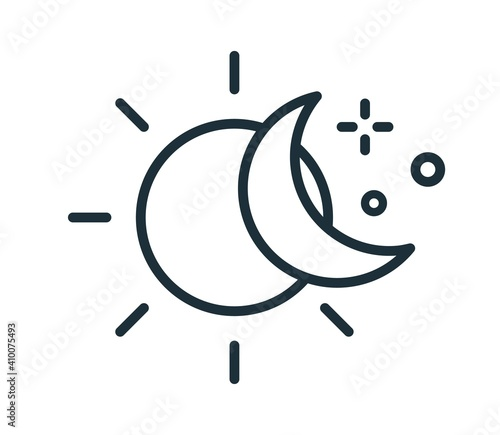 Canvas Print Simple icon in line art style with sun and half moon