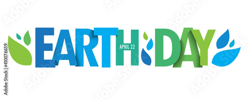 Fototapeta EARTH DAY - APRIL 22 green vector typography banner with leaves isolated on white background obraz