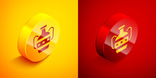 Isometric Ancient Amphorae Icon Isolated On Orange And Red Background. Circle Button. Vector.