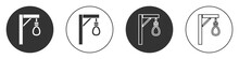 Black Gallows Rope Loop Hanging Icon Isolated On White Background. Rope Tied Into Noose. Suicide, Hanging Or Lynching. Circle Button. Vector.