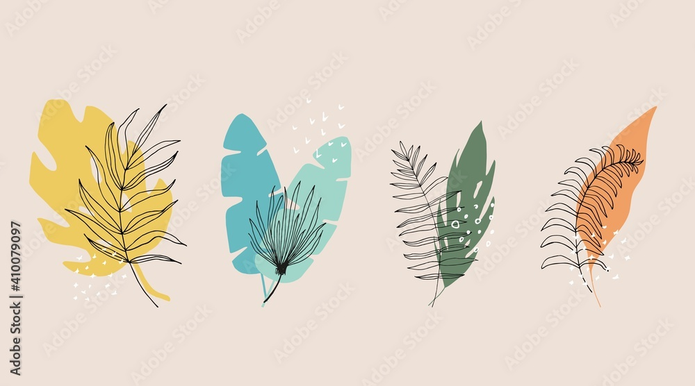 Fototapeta Collection of floral and abstract shape, sticker, design element, plant, leaves, hand drawn in trendy doodle style. Vector illustrations for paper, cover, fabric, interior decor. elements are isolated