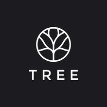 Tree Vector Icon. Nature Trees Vector Illustration Logo Design. In Black Backround