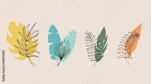 Obraz Collection of floral and abstract shape, sticker, design element, plant, leaves, hand drawn in trendy doodle style. Vector illustrations for paper, cover, fabric, interior decor. elements are isolated - fototapety do salonu
