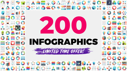 Fototapeta na wymiar The Biggest Infographics Bundle Ever - includes 200 presentation templates, such as diagrams, charts, timelines, arrows, puzzle elements etc.