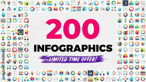 Fototapeta The Biggest Infographics Bundle Ever - includes 200 presentation templates, such as diagrams, charts, timelines, arrows, puzzle elements etc