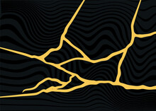 Abstract Pattern Of Golden Lines On A Black Background In The Style Of Japanese Art Restoration Of Kintsugi. Vector Background