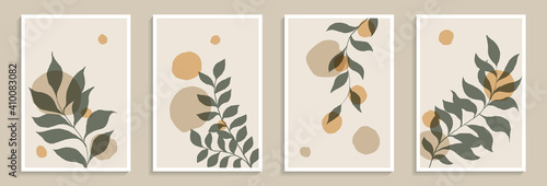 Obraz Set of creative minimalist hand draw illustrations green leaves and pastel simple shape for wall decoration, postcard or brochure cover design, poster - fototapety do salonu