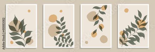 Stampa su Tela Set of creative minimalist hand draw illustrations green leaves and pastel simpl