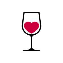 Logotipo Con Corazón Dentro De Copa De Vino En Color Negro Y Granate