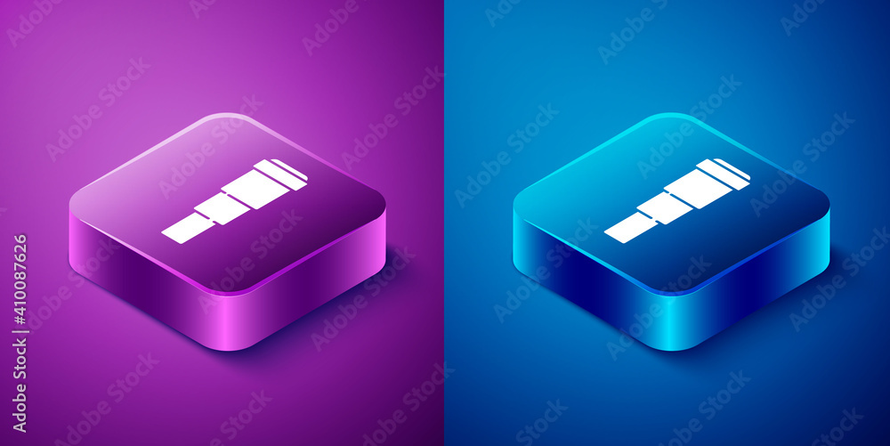 Fototapeta Isometric Spyglass telescope lens icon isolated on blue and purple background. Sailor spyglass. Square button. Vector.