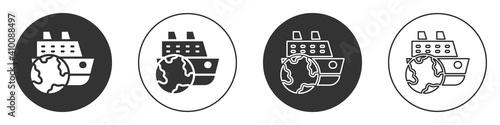 Fotografie, Obraz Black Cruise ship icon isolated on white background