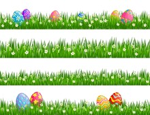 Easter Egg Hunt Vector Borders With Easter Eggs, Spring Green Grass Blades And Blooming White Flowers. Christian Religion Holiday And Resurrection Sunday Celebration Design