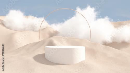 Fotografia, Obraz 3d render abstract platform podium on water and waving curtains