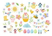 Easter Spring Set With Cute Eggs, Birds, Bees, Butterflies. Hand Drawn Flat Cartoon Elements. Vector Illustration