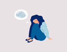Sad Girl Sits On The Floor With Tangled Thoughts. The Unhappy Child Has Confused Thinking. The Depressed Adolescent Has Memory Problems. Concept Of Mental Disorder Or Illness. Vector Illustration