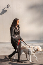 Visually Impaired Woman Walking With Guide Dog