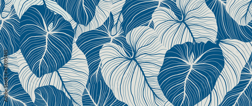 Obraz Luxury nature leaves background vector. Floral pattern, Tropical leaf with line arts, jungle plants, Exotic pattern with palm leaves. Vector illustration. - fototapety do salonu