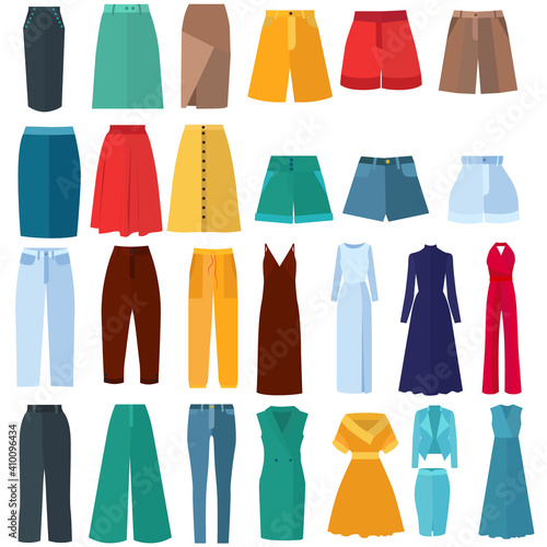 vector, isolated, set of clothes in flat style Fototapeta