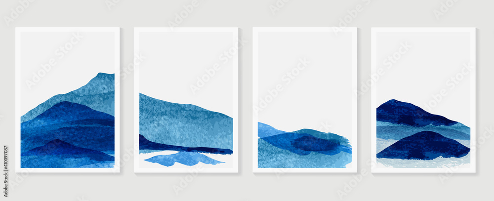 Fototapeta Mountain and landscape wall arts vector. watercolor abstract arts with brush texture design for wall framed prints, canvas prints, poster, home decor, cover, luxury wallpaper.